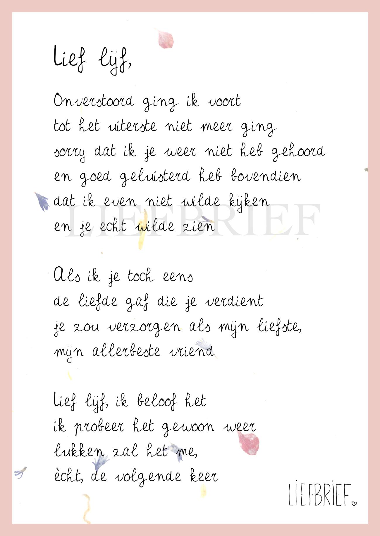 Gedichtje Lief Lijf